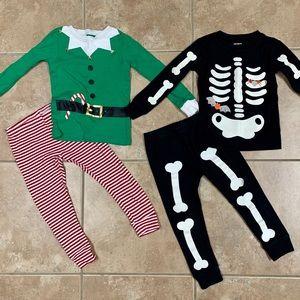 Holiday Pajama Bundle - Xmas Elf and Skeleton - 3T